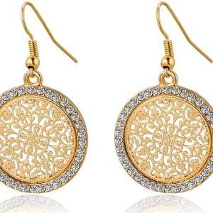 Gorgeous NWT Goldtone Dangle Earrings Rhinestones
